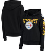 Pittsburgh Steelers 5th & Ocean by New Era Women's Mesh Pullover Hoodie - Black