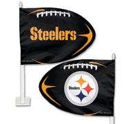 Pittsburgh Steelers WinCraft Football Shaped Car Flag