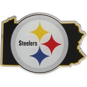 Pittsburgh Steelers State Shape Acrylic Metallic Auto Emblem