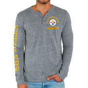 Pittsburgh Steelers Junk Food Half Time Henley Long Sleeve T-Shirt - Steel