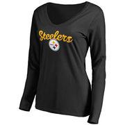 Pittsburgh Steelers NFL Pro Line Women's Freehand V-Neck Long Sleeve T-Shirt - Black