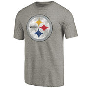 Pittsburgh Steelers NFL Pro Line Distressed Primary Logo Tri-Blend T-Shirt - Heathered Gray