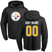 Pittsburgh Steelers NFL Pro Line Any Name & Number Logo Personalized Pullover Hoodie - Black