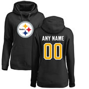 Pittsburgh Steelers NFL Pro Line Women's Any Name & Number Logo Personalized Pullover Hoodie - Black