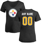Pittsburgh Steelers NFL Pro Line Women's Any Name & Number Logo Personalized Slim Fit T-Shirt - Black