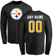 Pittsburgh Steelers NFL Pro Line Any Name & Number Logo Personalized Long Sleeve T-Shirt - Black