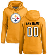 Pittsburgh Steelers NFL Pro Line Women's Personalized Name & Number Logo Pullover Hoodie - Gold