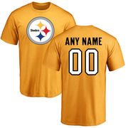Pittsburgh Steelers NFL Pro Line Personalized Name & Number Logo T-Shirt - Gold