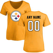 Pittsburgh Steelers NFL Pro Line Women's Personalized Name & Number Logo Slim Fit T-Shirt - Gold