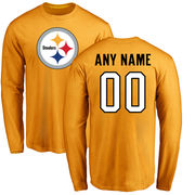 Pittsburgh Steelers NFL Pro Line Personalized Name & Number Logo Long Sleeve T-Shirt - Gold
