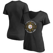 Pittsburgh Steelers NFL Pro Line Women's Firefighter Slim Fit V-Neck T-Shirt - Black