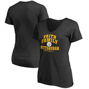 Pittsburgh Steelers NFL Pro Line Women's Faith Family Slim Fit T-Shirt - Black