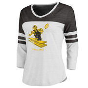 Pittsburgh Steelers NFL Pro Line Women's Throwback Two-Tone Color Block Tri-Blend 3/4-Sleeve T-Shirt - White/Black