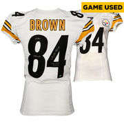 Antonio Brown Pittsburgh Steelers Fanatics Authentic Autographed Game-Used White #84 Jersey vs St. Louis Rams on September 27