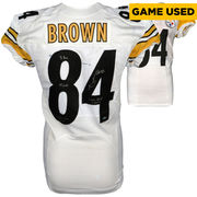 Antonio Brown Pittsburgh Steelers Fanatics Authentic Autographed Game-Used White #84 Jersey vs San Diego Chargers on October 12