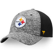 Pittsburgh Steelers NFL Pro Line by Fanatics Branded Static Trucker Adjustable Snapback Hat - Heathered Gray/Black