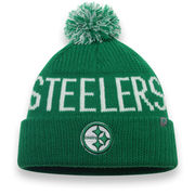 Pittsburgh Steelers NFL Pro Line by Fanatics Branded St. Patrick's Day Cuffed Knit Hat with Pom - Kelly Green