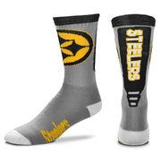 Pittsburgh Steelers For Bare Feet Cool Gray Jump Key Crew Socks