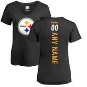 Pittsburgh Steelers NFL Pro Line Women's Personalized Backer Slim Fit T-Shirt - Black