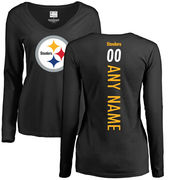Pittsburgh Steelers NFL Pro Line Women's Personalized Backer Slim Fit Long Sleeve T-Shirt - Black