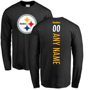 Pittsburgh Steelers NFL Pro Line Personalized Backer Long Sleeve T-Shirt - Black