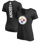 Antonio Brown Pittsburgh Steelers NFL Pro Line Women's Backer Name & Number Slim Fit V-Neck T-Shirt - Black