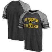 Pittsburgh Steelers Pro Line by Fanatics Branded Refresh Tenacity Retro Raglan Tri-Blend T-Shirt - Black