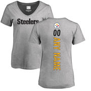 Pittsburgh Steelers NFL Pro Line Women's Personalized Backer V-Neck T-Shirt - Ash