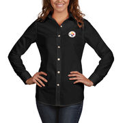 Pittsburgh Steelers Antigua Women's Dynasty Woven Button Up Long Sleeve Shirt - Black