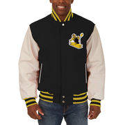 Pittsburgh Steelers JH Design Domestic Vintage Two-Tone Wool Leather Jacket - Black