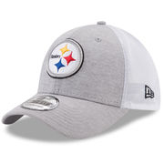 Pittsburgh Steelers New Era Tech Sweep 39THIRTY Flex Hat - Heathered Gray/White