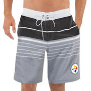 Pittsburgh Steelers G-III Sports by Carl Banks Balance Quick Dry Swim Trunks - Heathered Gray/Black