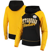 Pittsburgh Steelers Women's French Terry Funnel Neck Pullover Hoodie - Black/Gold