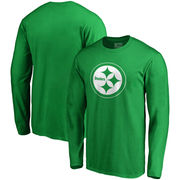 Pittsburgh Steelers NFL Pro Line by Fanatics Branded St. Patrick's Day White Logo Long Sleeve T-Shirt - Kelly Green
