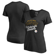 Pittsburgh Steelers NFL Pro Line by Fanatics Branded Women's Plus Size 2016 AFC North Division Champions V-Neck T-Shirt - Black