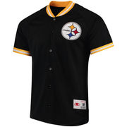 Pittsburgh Steelers Mitchell & Ness Seasoned Pro Mesh Button-Up Shirt - Black