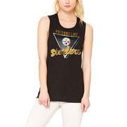 Pittsburgh Steelers Let Loose by RNL Women's Eighty Something Muscle Tank Top - Black
