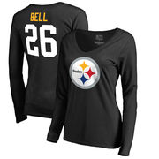 Le'Veon Bell Pittsburgh Steelers NFL Pro Line by Fanatics Branded Women's Team Icon Slim Fit V-Neck Long Sleeve T-Shirt - Black
