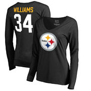 DeAngelo Williams Pittsburgh Steelers NFL Pro Line by Fanatics Branded Women's Team Icon V-Neck Long Sleeve T-Shirt - Black