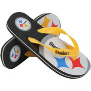 Pittsburgh Steelers Youth Double Logo Flip Flops