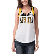 Pittsburgh Steelers 5th & Ocean by New Era Women's Athletic Notch Neck Tank Top - White