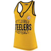 Pittsburgh Steelers 5th & Ocean by New Era Women's Slub Racerback Tank Top - Gold