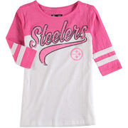 Pittsburgh Steelers 5th & Ocean by New Era Girls Youth Jersey Slub 3/4-Sleeve T-Shirt - White/Pink