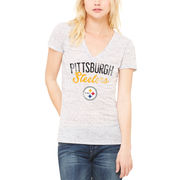 Pittsburgh Steelers Let Loose by RNL Women's Endless V-Neck T-Shirt - White