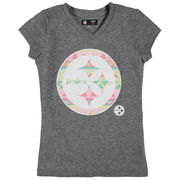 Pittsburgh Steelers 5th & Ocean by New Era Girls Youth Tribal Tri-Blend V-Neck T-Shirt - Heathered Gray