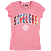 Pittsburgh Steelers 5th & Ocean by New Era Girls Youth Tie-Dye Tri-Blend V-Neck T-Shirt - Pink