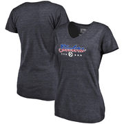 Pittsburgh Steelers NFL Pro Line by Fanatics Branded Women's Spangled Script Tri-Blend T-Shirt - Navy
