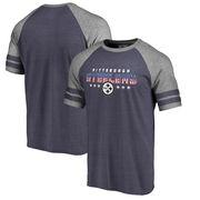 Pittsburgh Steelers NFL Pro Line by Fanatics Branded Spangled Raglan Sleeve T-Shirt - Navy/Heathered Gray