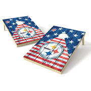 Pittsburgh Steelers 2' x 3' Stars And Stripes Platinum Wood Design Tailgate Toss Set