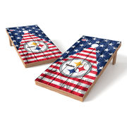 Pittsburgh Steelers 2' x 4' Stars and Stripes Wood Design Authentic Tailgate Toss Set